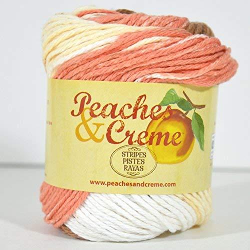 - Spinrite Peaches & Creme (Cream) Cotton Yarn Stripes Sandstone Stripes 2 oz