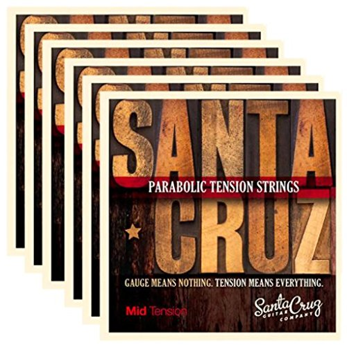 Santa Cruz Parabolic Tension Acoustic Guitar Strings Mid Tension (6 Pack) by Santa Cruz