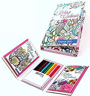 ADULT COLOURING BOOK RELAX WITH COLOUR TRAVEL SET PATTERNS FLORAL