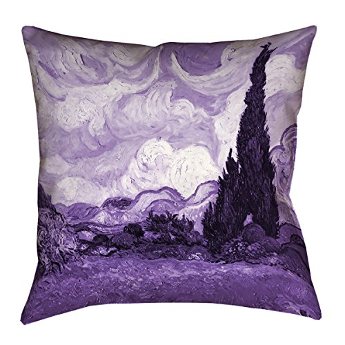 ArtVerse Vincent Van Gogh Purple Wheatfield with Cypresses x Floor Pillows Double Sided Print with Concealed Zipper & Insert, 40'' x 40'' by ArtVerse