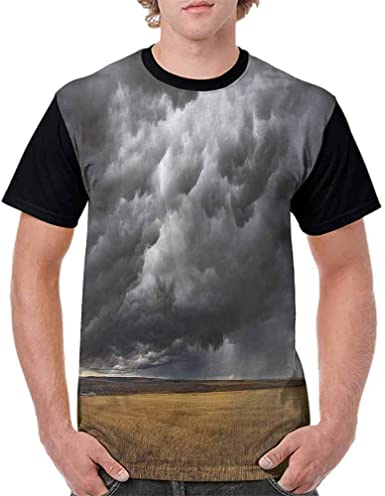 Casual Short Sleeve Graphic Tee Shirts,Thunderstorm on The Field Fashion Personality Customization