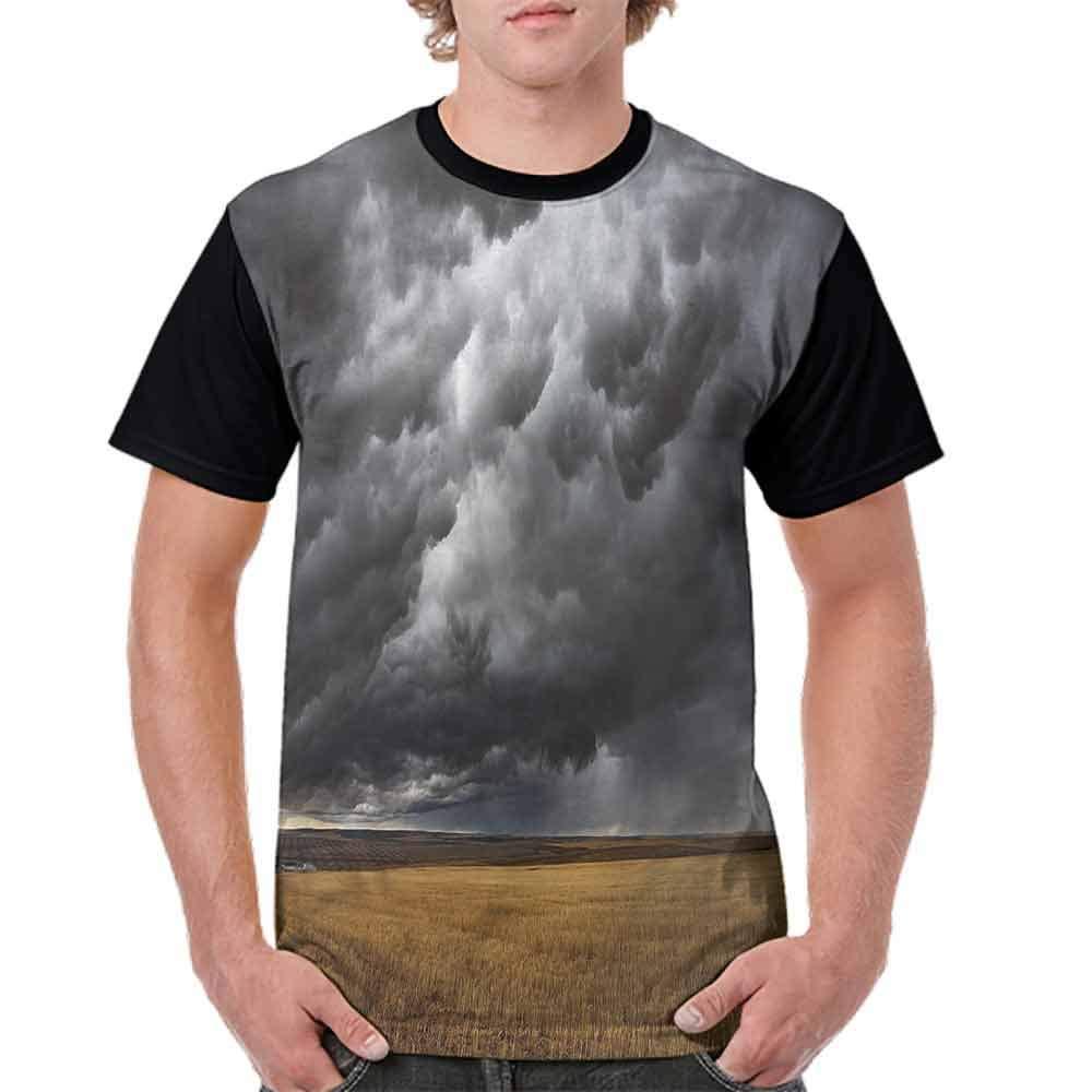 Printed T-Shirt,Thunderstorm on The Field Fashion Personality Customization