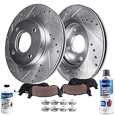 Detroit Axle - Pair (2) Front Drilled and Slotted Disc Brake Kit Rotors w/Ceramic Pads w/Hardware & Brake Kit Cleaner & Fluid for 2006 2007 2008 2009 2010 2011 Hyundai Accent/Kia Rio Rio5: Automotive