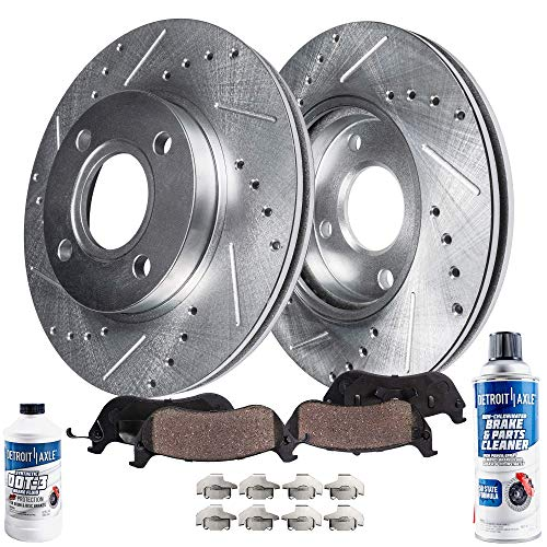 Detroit Axle - Pair (2) Front Drilled and Slotted Disc Brake Rotors w/Ceramic Pads w/Hardware & Brake Cleaner Fluid for 2002-2006 Mitsubishi Lancer LS and OZ Rally Edition Rear Drum Models