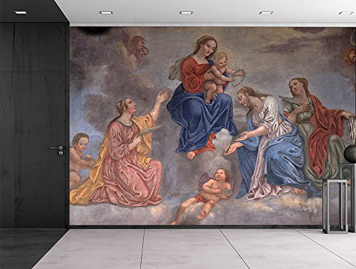 Franciscan fresco Slovenia Virgin Mary and baby Jesus surrounded by Saints and Angels Catholic Christianity Wall Mural