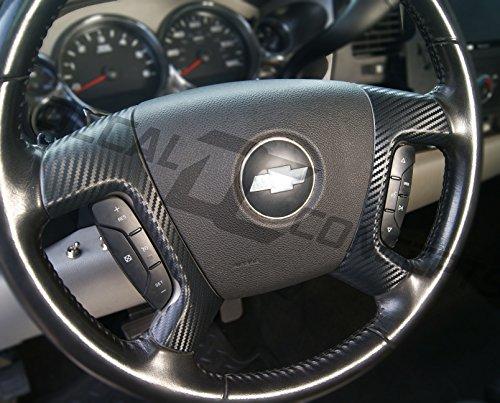 Silverado Tahoe FULL Carbon Fiber Steering Wheel Spoke Overlay Decal Cover (Carbon Fiber Spokes)