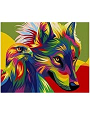 S-TROUBLE Wolf & Eagle DIY Paint by Numbers Modern Wall Art Picture para niños y Adultos