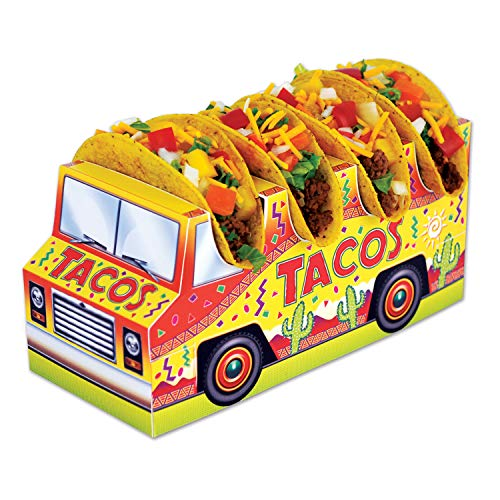 (Beistle Mexican Party Decorations Cinco De Mayo, 3-D Taco Truck Centerpieces 5 Inch x 10.5 Inch, Pack 12)