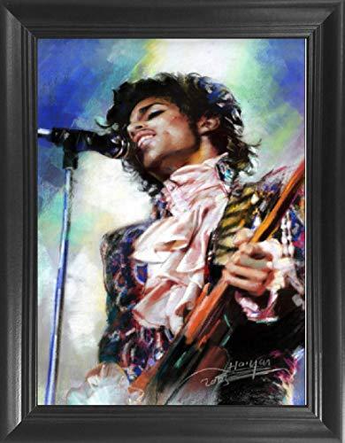 (Prince Hot Rock Pop Music Star Purple Rain Framed 3D Lenticular Picture - 14.5x18.5 - Unbelievable Life Like Framed 3D Art Pictures, Lenticular Posters, Cool Art Deco, Unique Wall Art Décor)