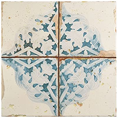 "SomerTile White/Blue/Cream/Brown FPEARTAD Artisa Ceramic Floor and Wall Tile, 13"" x 13"", Azul Décor, 10"