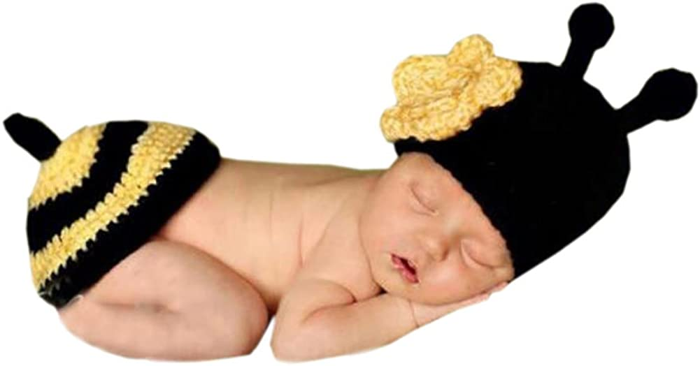 DELEY Unisex Bebé Crochet Flor de la Abeja de la Miel de Vestuario Infantil Ropa Traje de la Foto Puntales de 0-6 Meses