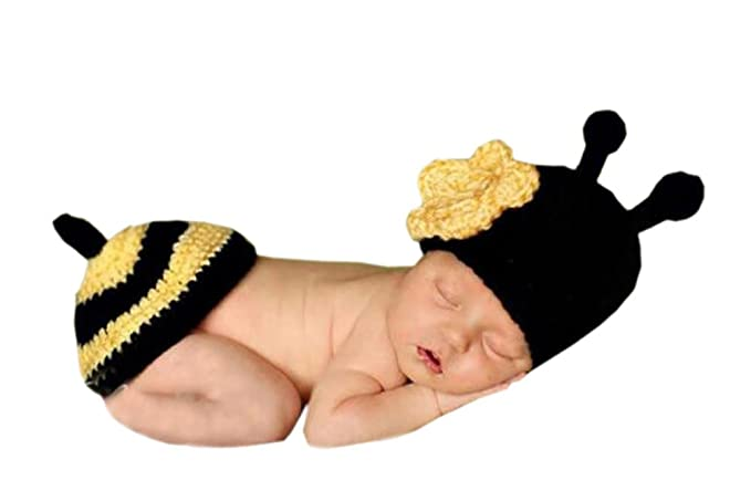 DELEY Unisex Bambino Fiore all Uncinetto Honey Bee Costume Neonato Vestiti  del Vestito Foto Puntelli e338f495f60