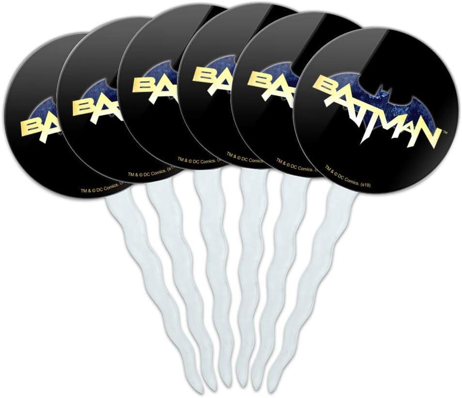 GRAPHICS & MORE Batman Logo Cupcake Picks Toppers Decoration Set of 6