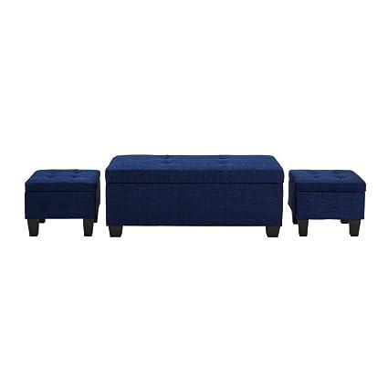 Picket House Furnishings Everett Storage Ottoman Blue/3 Piece