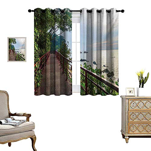 - Beach Room Darkening Wide Curtains Walkway and Jogging Track by Sea in Cinque Terre Italian Mediterranean Vacation Decor Curtains by W55 x L63 Green Chocolate