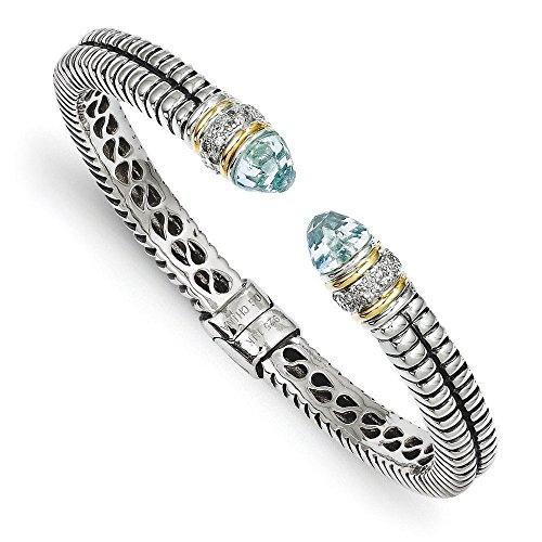 Argent Sterling 14 carats avec diamant topaze bleue et Bracelet-JewelryWeb brute