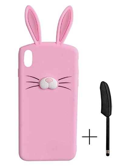 HikerClub iPhone X Silicone Case Rabbit Long Ear Pink Animal 3D Cute Cartoon Character Soft Rubber