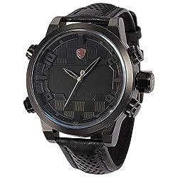 Sawback Angelshark Men's Fashion Digital LED Date Day Alarm Black Leather Quartz Sport Watch SH203 Red (Black)