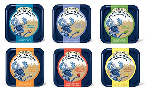 Blue Moose - Blue Moose Organic Hummus, Original, Lime and Black Bean, Green Chile, Roasted Garlic, Roasted Red Pepper, Lemon Turmeric (6 pack)