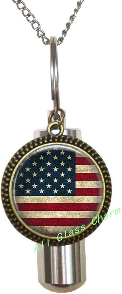 Memorial Jewelry Cremation Urn American Flag Stars Necklace Stainless Steel USA