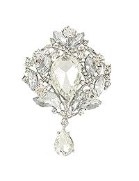 Ever Faith Elegant Teardrop Austrian Crystals Brooch Pendant