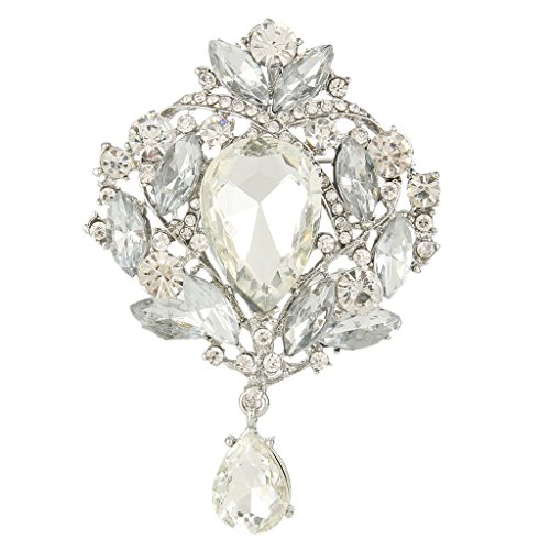 EVER FAITH Women's Austrian Crystal Elegant Leaf Teardrop Pendant Brooch Clear Silver-Tone
