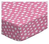 SheetWorld Fitted Pack N Play (Graco) Sheet - Primary Stars White On Pink Woven - Made In USA