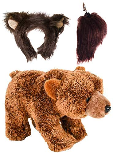 Wildlife Tree Stuffed Plush Grizzly Bear Ears Headband and Tail Set with Baby Plush Toy Brown Bear Bundle for Pretend Play Animals Dressup -