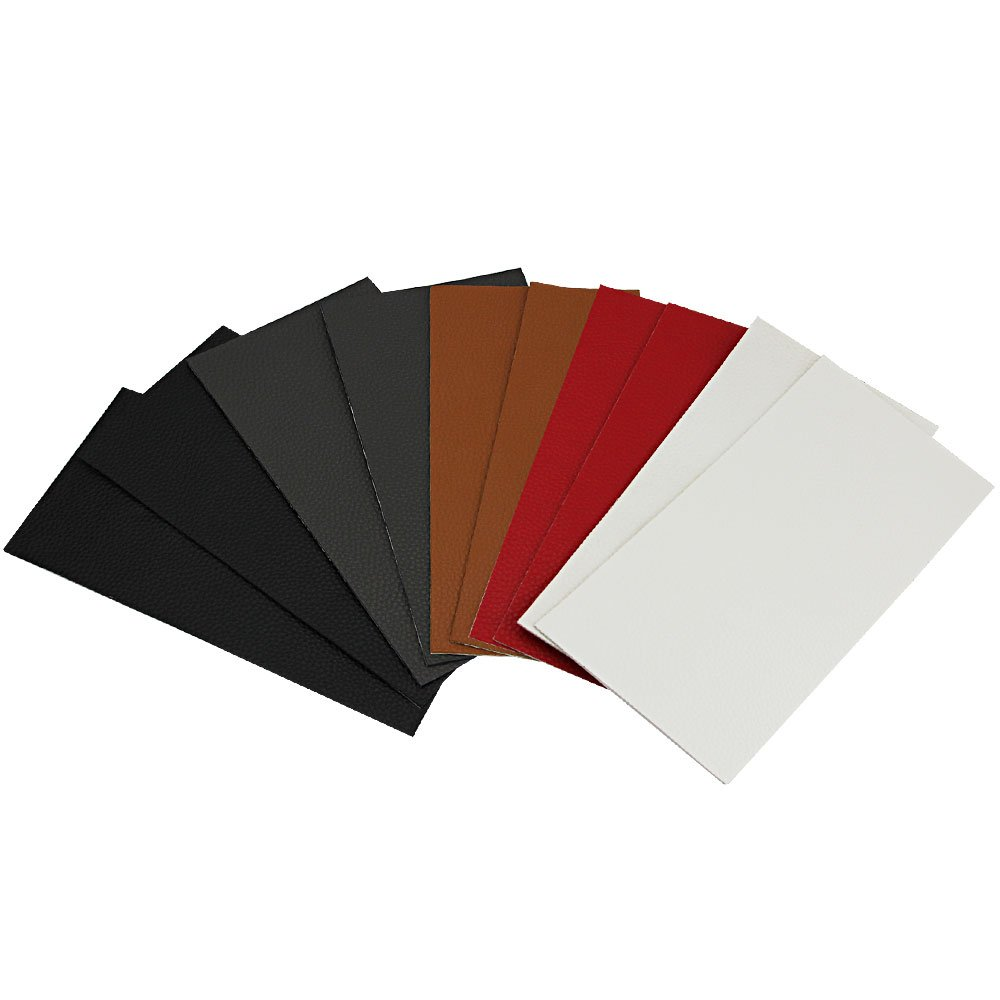GOLRISEN Leather Repair Patch 10 Pcs Leather Adhesive Patch for Sofas Car Seats Handbags Jackets Plain Couch Cushions 100mm x 200mm(5 Colors)