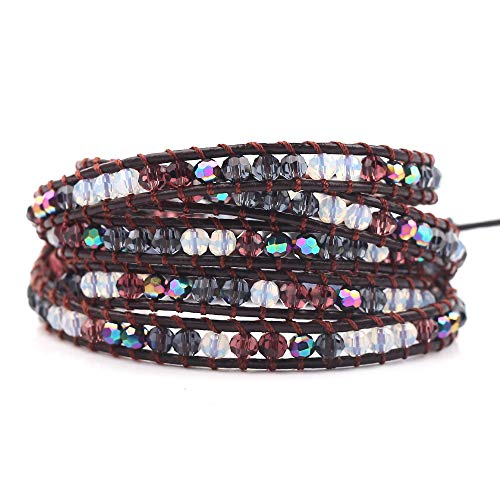 rongji jewelry Handmade Bohemian Natural Stones Bracelet - Leather Bracelet with Chakra and Beads Wrapped for Women and Girls ()