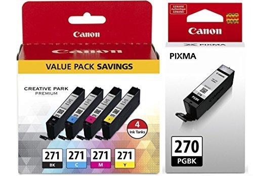 Price comparison product image Canon PGI-270 Pigment Black Ink Tank + Canon CLI-271 CMYK Ink Tank 4-Pack