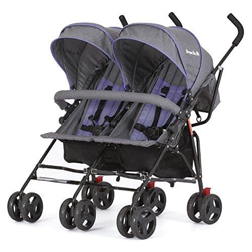 Dream On Me Volgo Twin Umbrella Stroller, Purple/Dark Grey