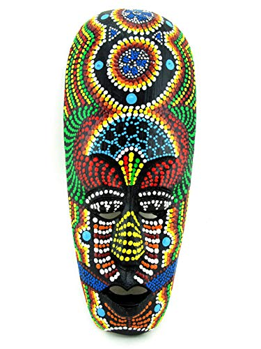 Blue Orchid Small African Mask Hand Painted Wood Wall Dot Art (Jamaican Magic)