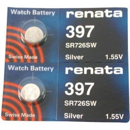 Battery Watch Sr726w - Renata 397 Button Cell watch battery, 2 Batteries