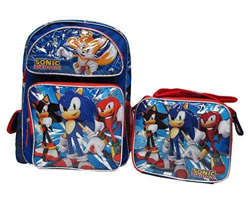 "Sonic The Hedgehog Large 16"" Backpack School Book Bag & Lunch Box Set - BRAND NEW - Licensed"