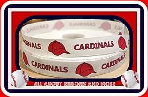 St. Louis Cardinals 1 inch white grosgrain ribbon (5 yard package)