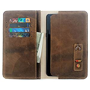 Chalk Factory Genuine Leather Mobile Wallet Case with Card Holder for Xiaomi Redmi 9 Power Mobile Phone