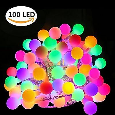 Ball String Lights, KUXIEN Multi Color Waterproof Ball Lights LED Globe String Lights,8 Lighting Modes Globe String for Indoor Outdoor Decoration Christmas Wedding Bedroom (32.8 ft,100led)