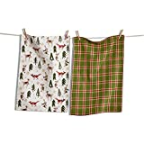 Evergreen Friends Forest Animals Dish Towel Set/2 Deer, Owl, Fox and Rabbit