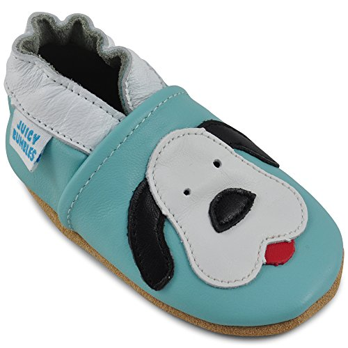 (Beautiful Soft Leather Baby Shoes - Crib Shoes with Suede Soles - Spot The Dog - 6-12 Months )