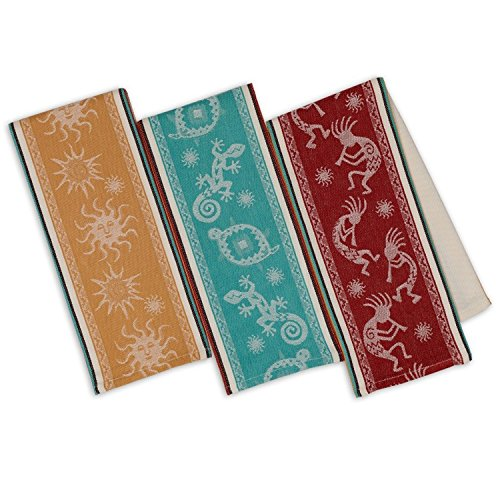 Design Imports Southwest Table Linens, 18-Inch by 28-Inch Dishtowels, Set of 3, Petroglyphs Stripe - Towel Jacquard Dish