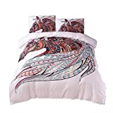 Cozzy 3D Printed Microfiber Duvet Cover and Pillowcase Spirit Animal Horse Pattern On White Background Twin Size