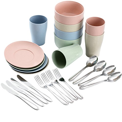 Sunwinc 24-Piece Camping Dinnerware Tableware set Strong Stainless Steel Spoon Fork Knife Lightweight Wheat Fiber Cup Bowl Dish by Sunwinc