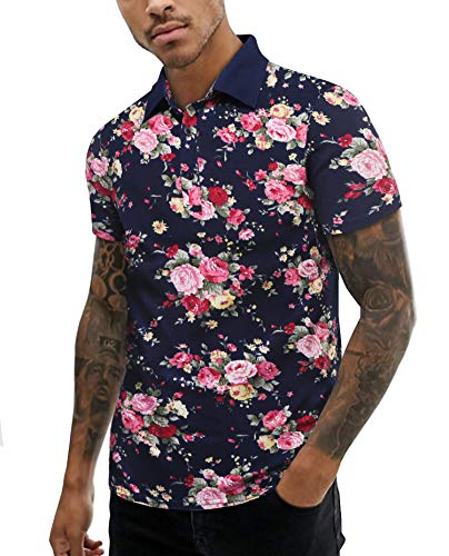 URRU Mens Sexy Floral Print Shirt with Buttons Slim Short Sleeve Summer T Shirt Navy Blue S