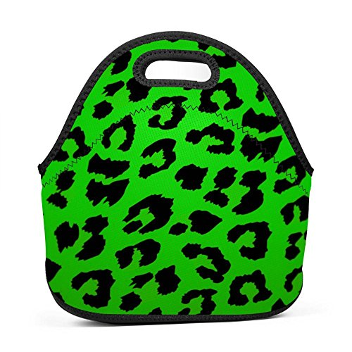 Ikon-eei Fashion Green Leopard Grain 3D Printing Reusable Portable Multifunction Lunch Bags/Picnic Bag with Zip & Handle