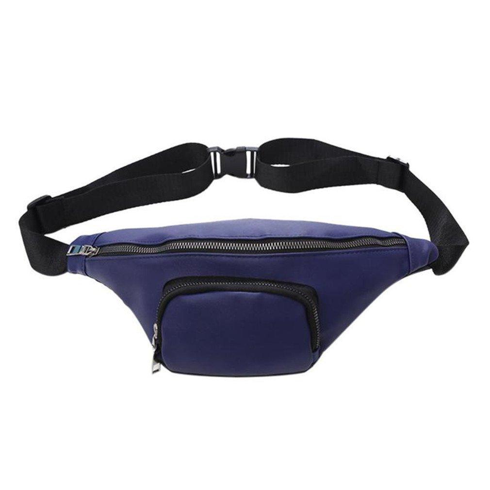 kingsamal PU Leather Waist Pack Waterproof Fanny Pack Belt Bag Dark Blue