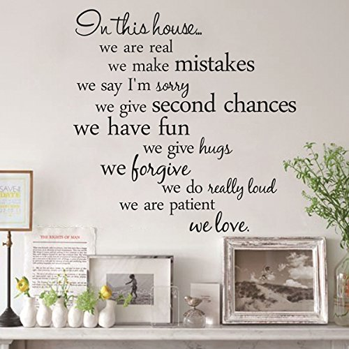 PIXNOR Novelty 'In This House Home Rules' DIY Removable Wall Quote Sticker...
