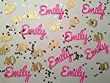 Personalized Confetti - Custom Confetti - Any Name and Number with Silver or Gold Glitter Squares