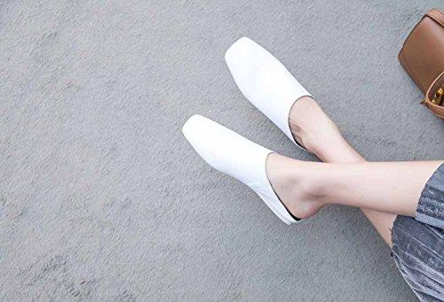 piatti Primavera pelle in donna Modelli piatto Bianca 2018 e fondo con Estate semplici Sandali fodera da Ciabatte qxUw4A8Fx