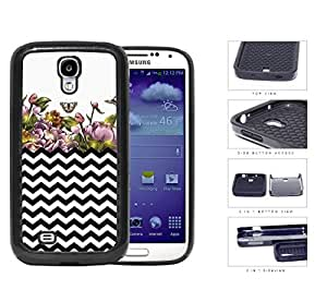 Black and White Chevron with Floral Watercolor Garden Painting Samsung Galaxy S4 I9500 2-piece Dual Layer High Impact Black Silicone Cover